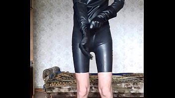 footjob latex catsuit Asian cute black