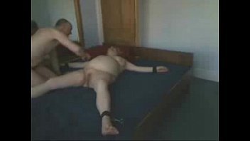 bed tied riding to Stuffed with cock