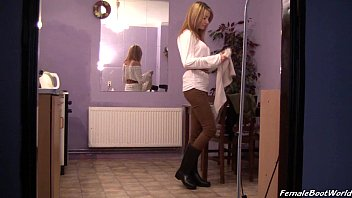 maid boots rubber cleaning Girl squirts through yoga